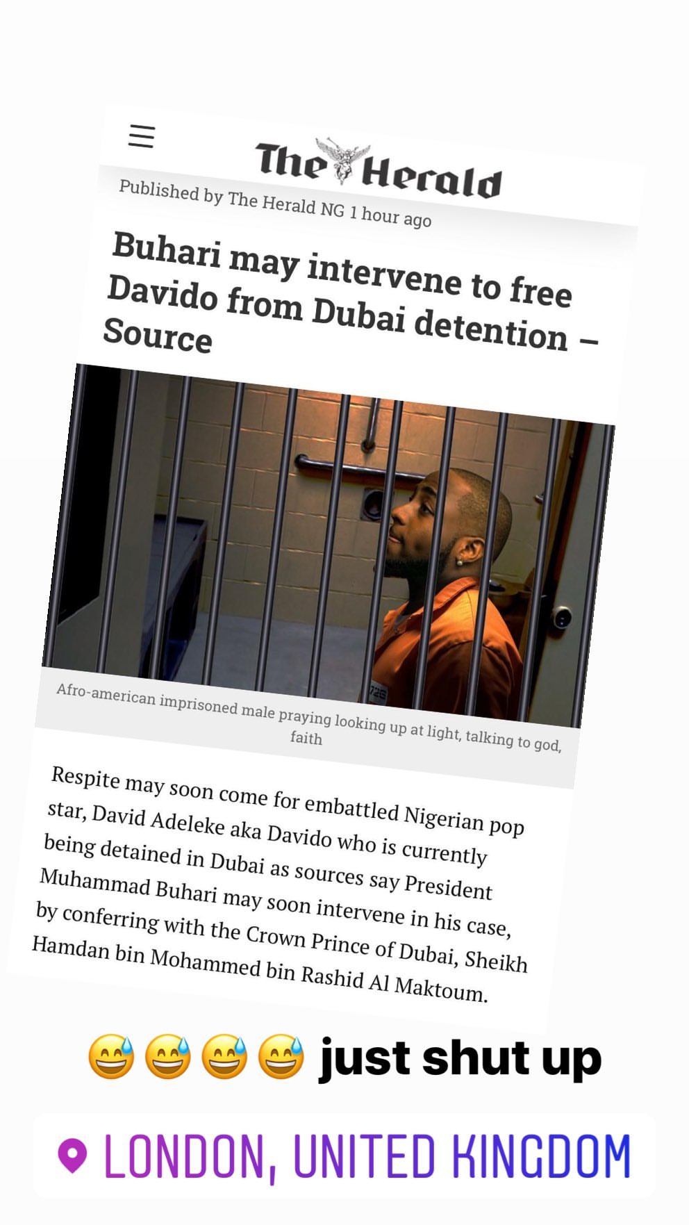 Shut up Bloggers, I am in London with my son - Davido reacts to reports of his Dubai arrest (Video)
