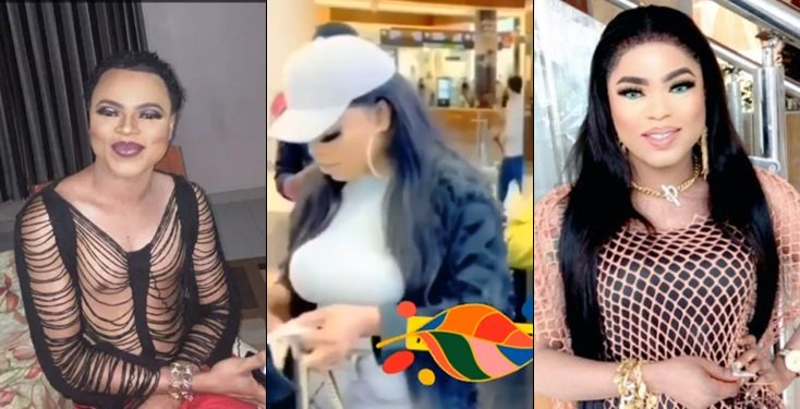 BUSTED! Bobrisky steps out bra-less in Dubai - See what he wears on his chest (Video)