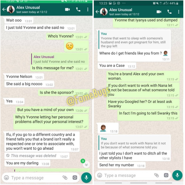 """Yvonne Nelson slept with someone's husband and even got pregnant for him - Leaked chat between Alex and Ifu Ennada"