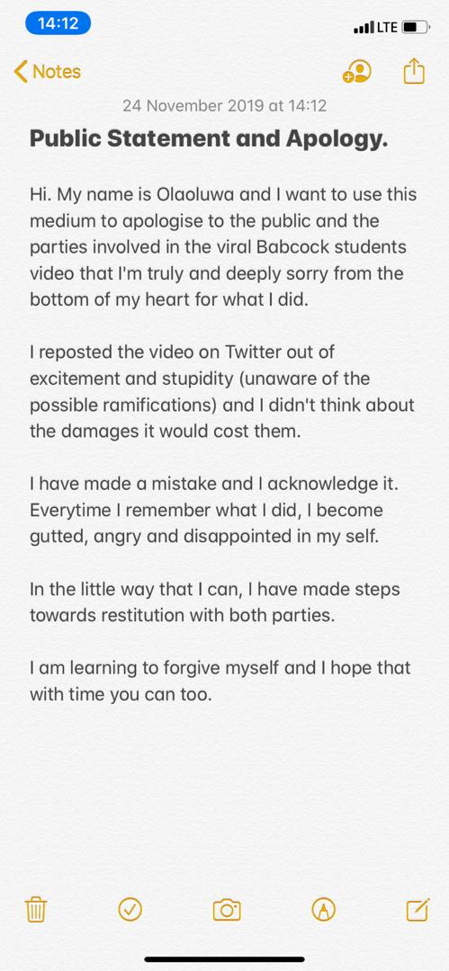 I'm sorry for posting the video - Twitter user apologizes for sharing the viral Babcock student S-tape