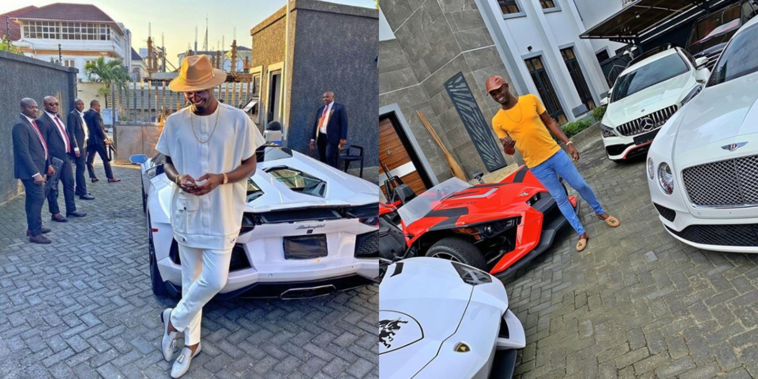 Nigerian celebrities react as Nigerian Billionaire, Jowi Zazaa steps out in his N115m Lamborghini (Photos)