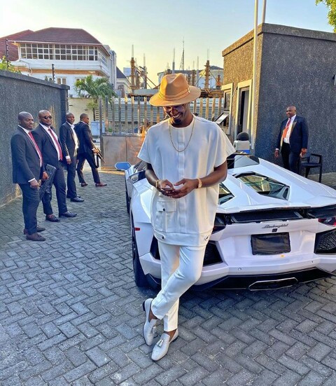 Nigerian celebrities react as Nigerian Billionaire, Jowi Zazaa steps out in his N115m Lamborghini (Photos)