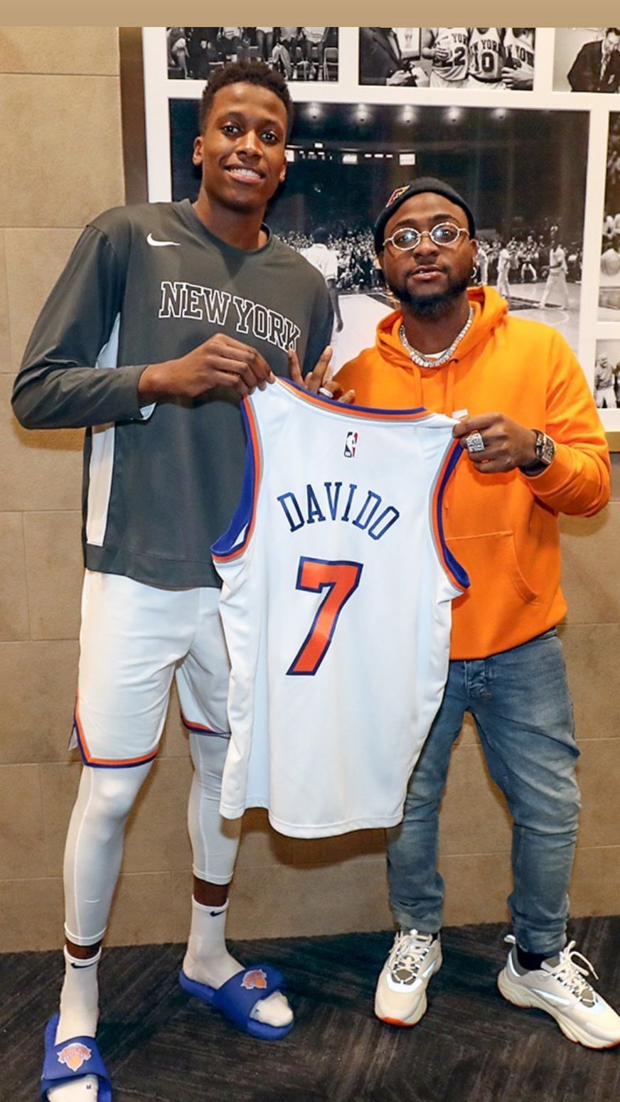 Davido recognised by popular American basketball club, gifts him club's customized Jersey (Photos)