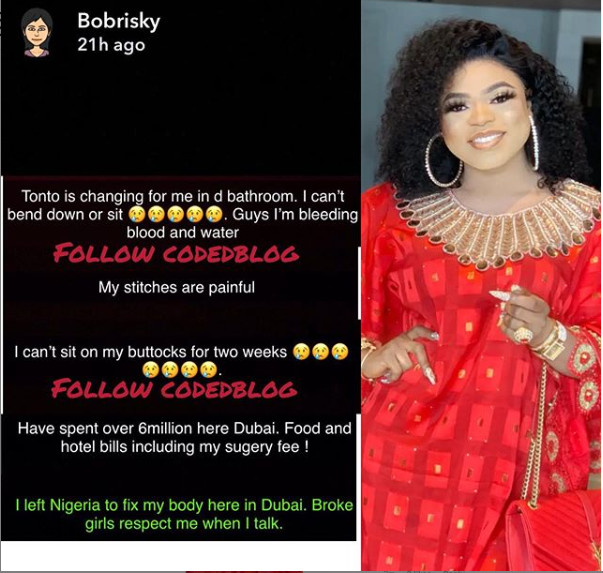 I am still bleeding, Tonto helps me cleanup in the bathroom - Bobrisky laments post surgery in Dubai (Photos)