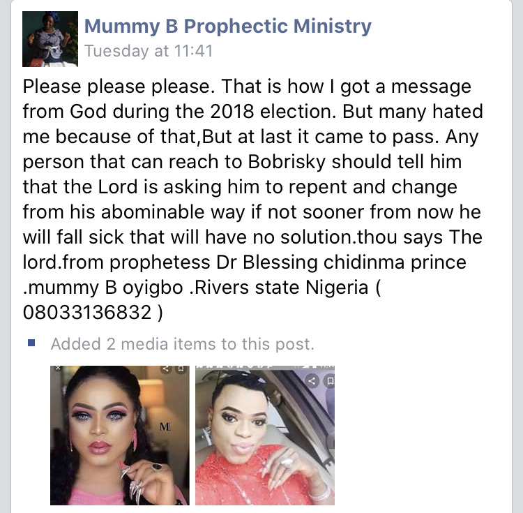 Tonto Dikeh slams prophetess who said her bestie, Bobrisky would die of incurable sickness (Photo)