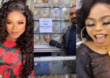 Bobrisky gets special recognition for being a first class customer at Dubai Jewelry Store (Video)