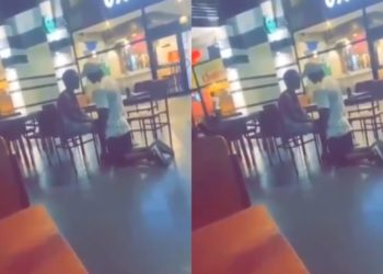 Men Are Scums! Boyfriend embarrasses lover by apologizing to her in public (Video)