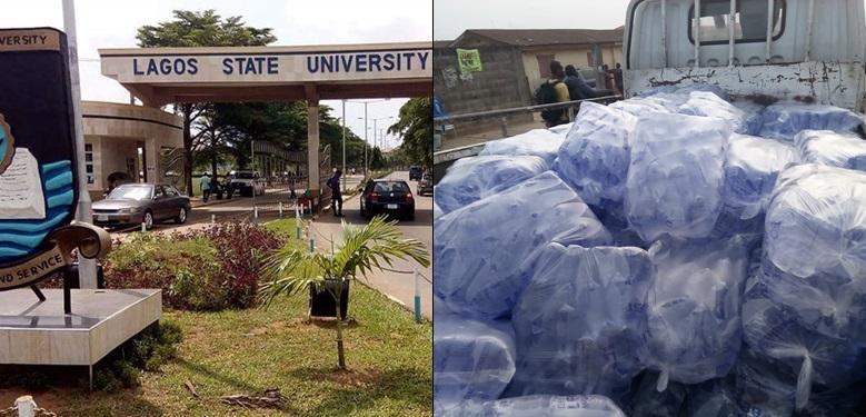 Men beaten up and arrested in front of LASU for allegedly selling drugged pure water to women so they can rape and rob them (video)