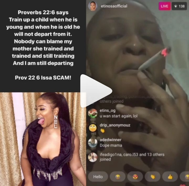 Nobody can blame my mother - actress Etinosa Idemudia says as she smokes weed with Bible in Live video