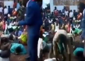 Pastor flogs church members for not attending church service (Video)
