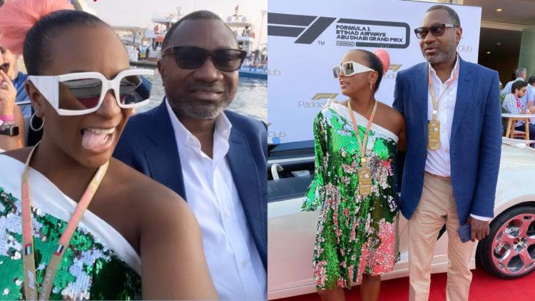 DJ Cuppy spends time with her billionaire father Femi Otedola at Dubai Formula 1 event (Photos)