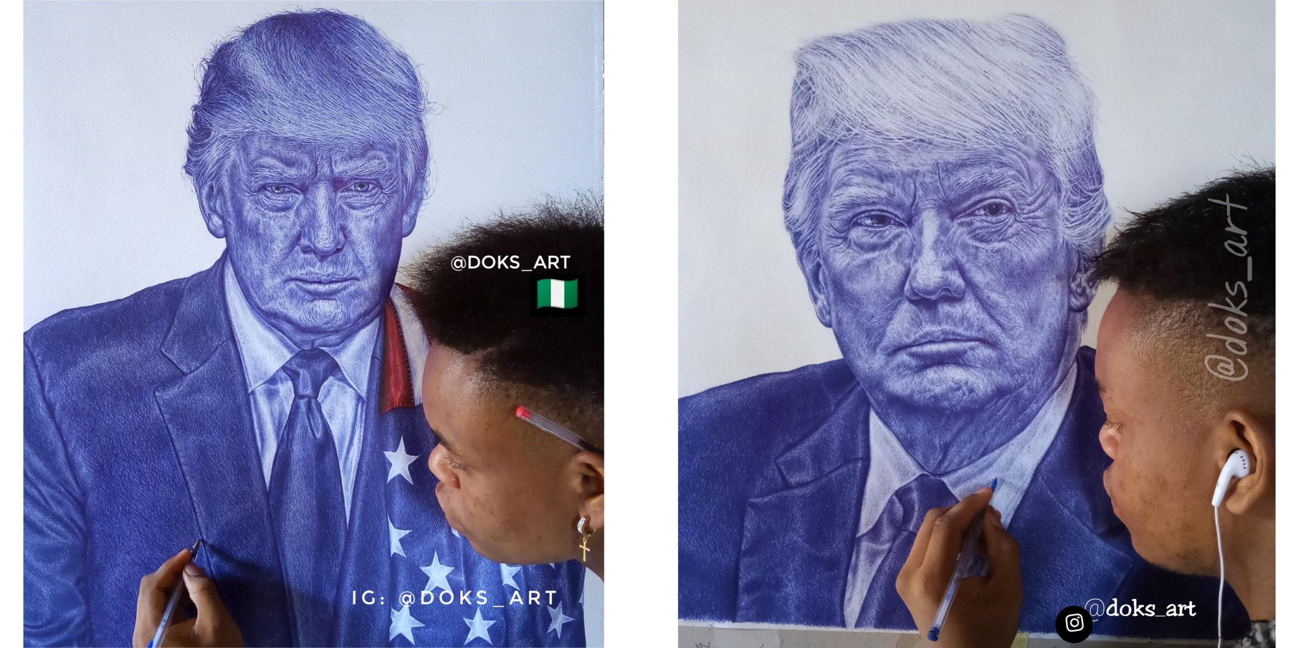 Trump replies Nigerian boy who drew a portrait of him on Twitter