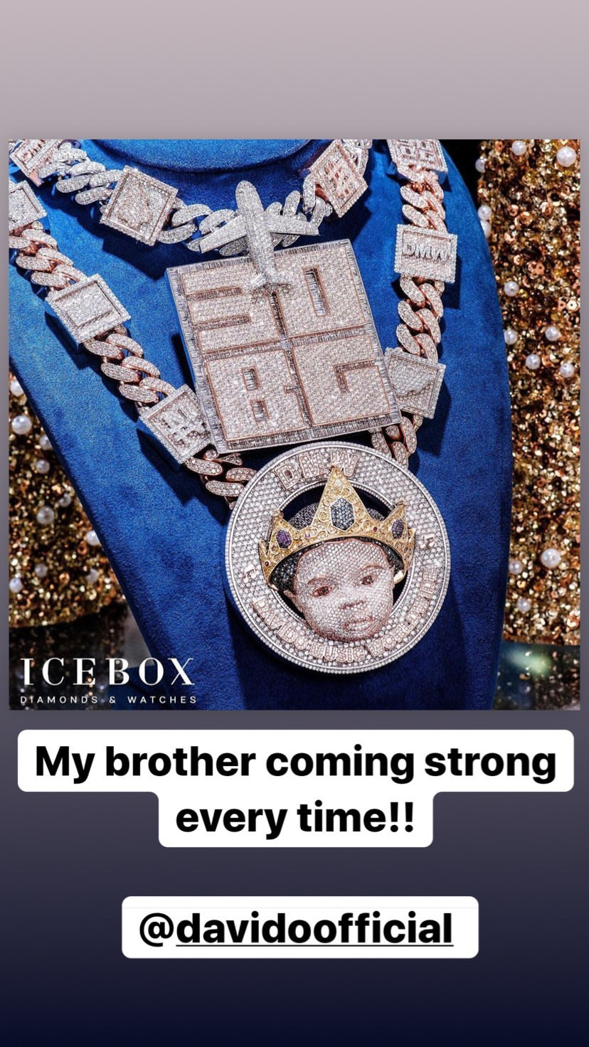 I love you Davido, you're my brother - Davido's Jeweler, Ice Box Zahir hails him after buying new chain (Photos)