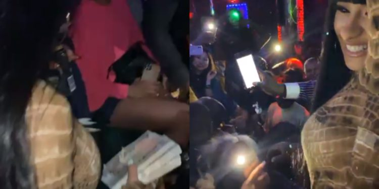 American Rapper Cardi visits Lagos Strip Club, Twersks and sprays crisp N200 notes on dancers (Video) (1)