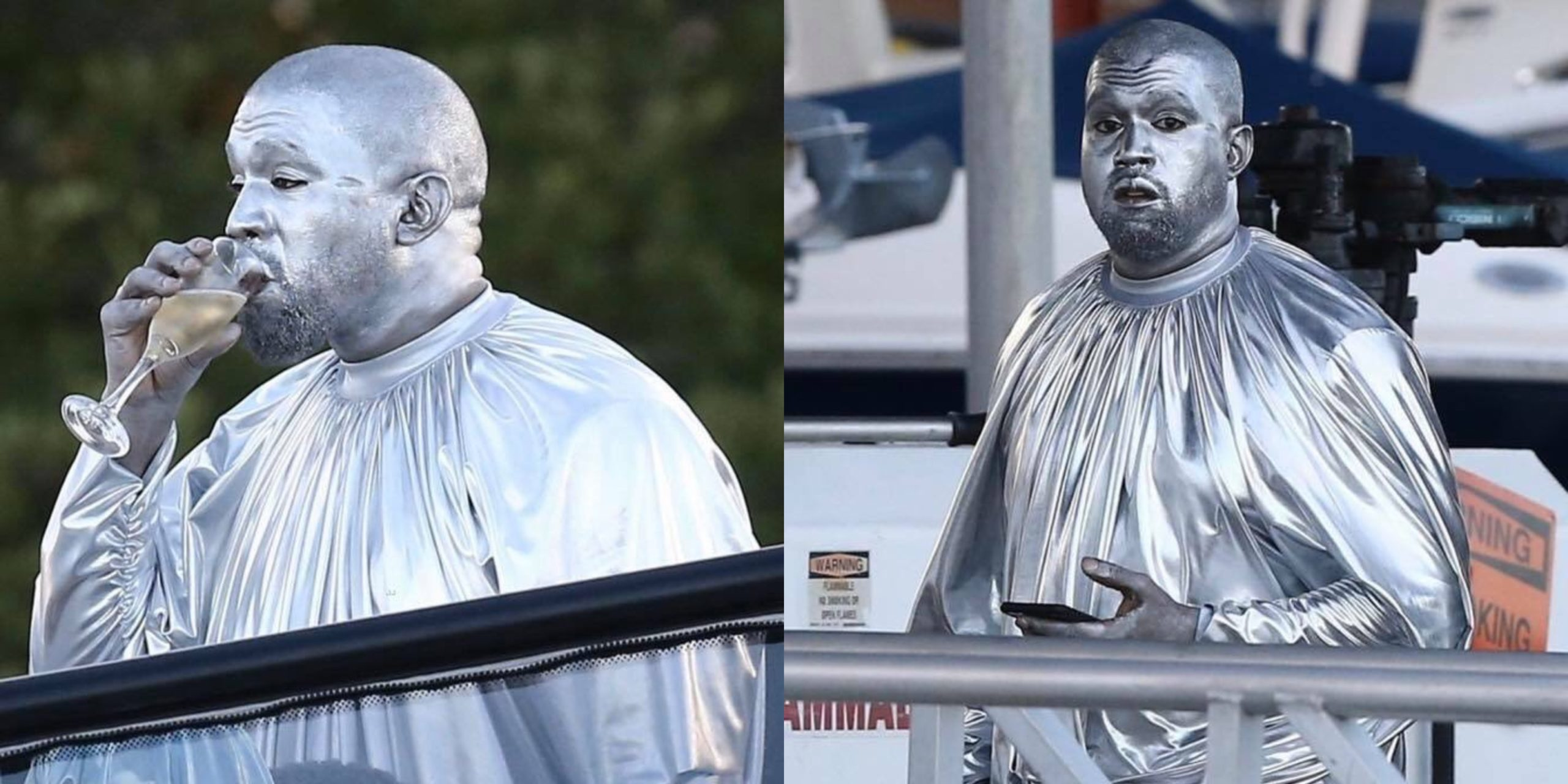 Kanye West paints entire body silver for performance in Miami (Photos)