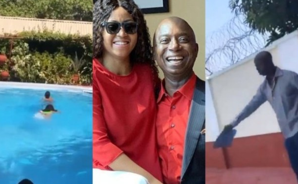Family moment! – Regina Daniels and Ned Nwoko teach their kids how to swim (Video)