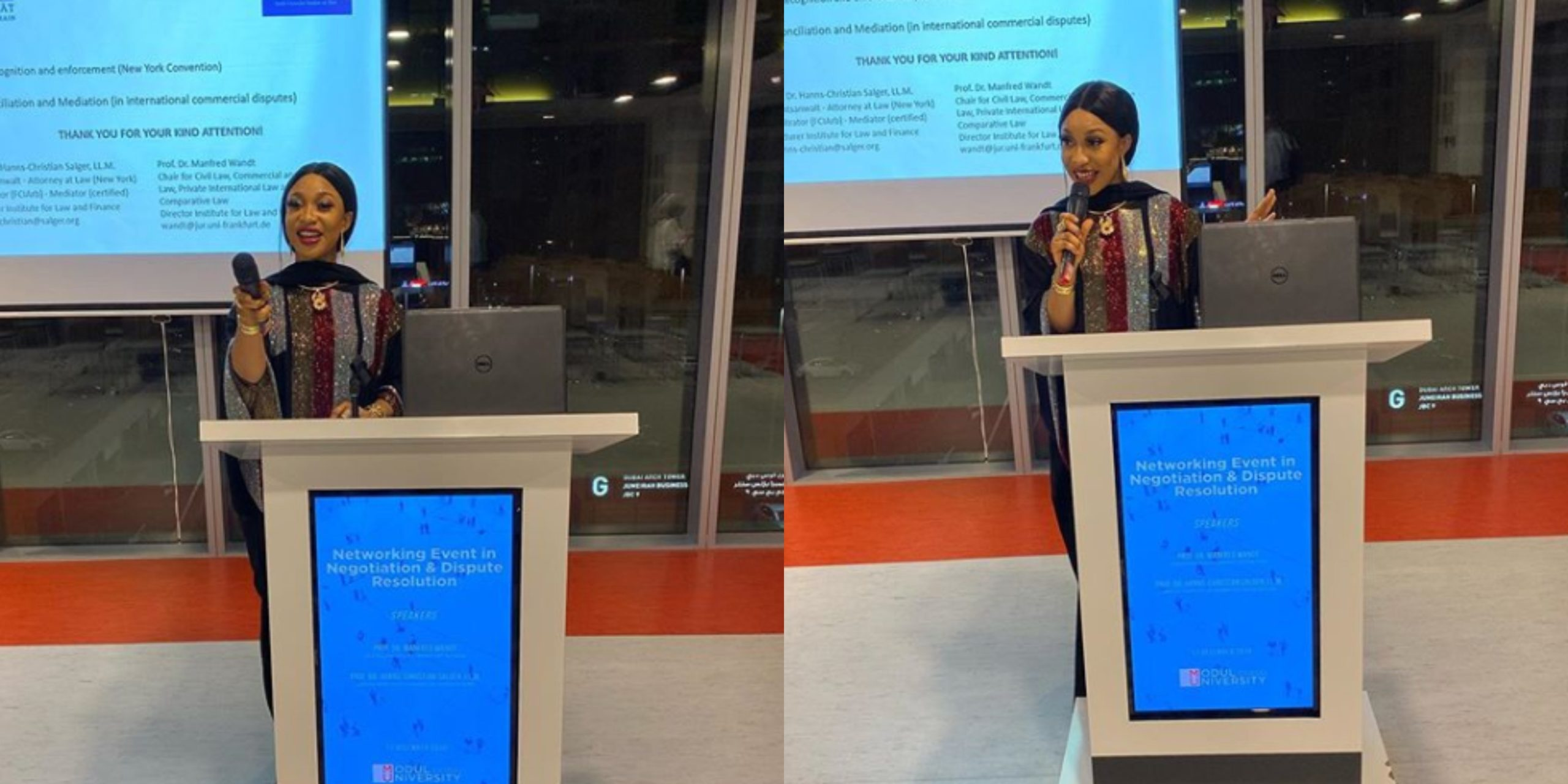 Audio Speaker: Tonto Dikeh busted for being a guest speaker to empty seats in Dubai (Photos)