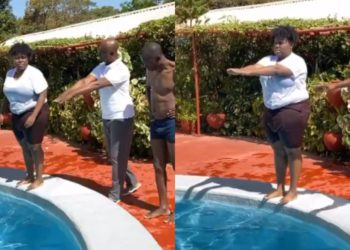 Billionaire Ned Nwoko teaches Teni how to swim in his Abuja mansion - See Teni's reaction (Video)