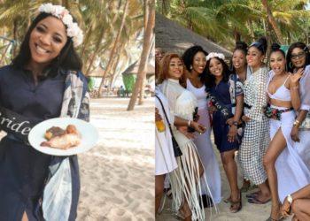 Linda Ikeji's sister, Sandra Ikeji gets a surprise all-white bridal shower at the beach (Video)