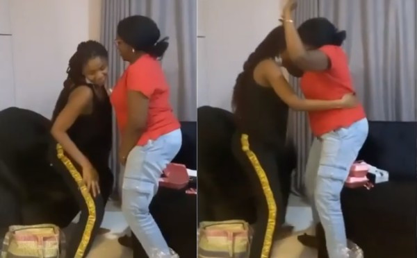 Beautiful moment pregnant Simi taught her mother how to 'whine' her waist (video)
