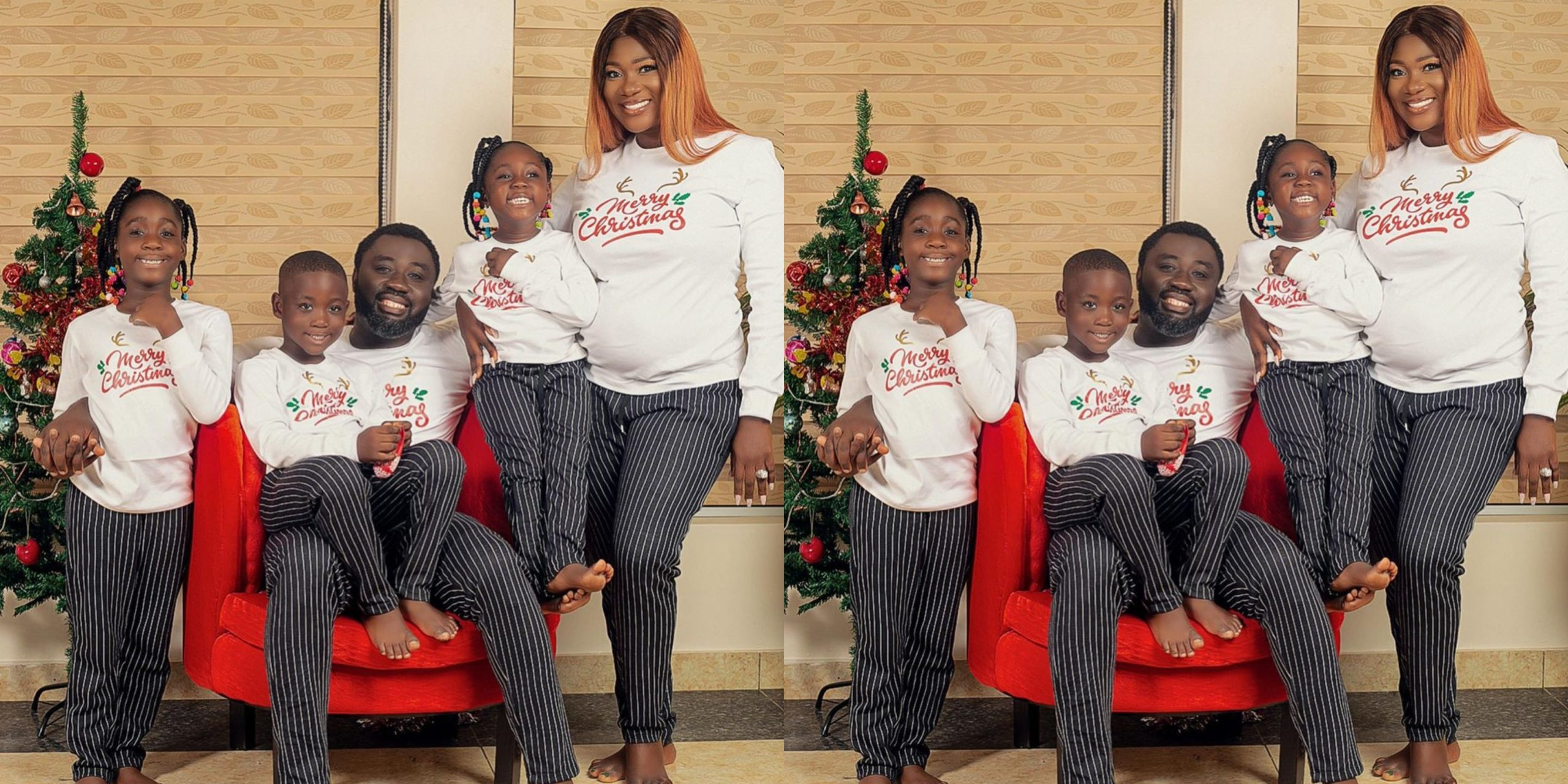 Pregnant Mercy Johnson and her family pose for beautiful Christmas portrait (Photos)