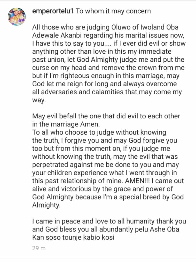 Oluwo of Iwoland curses his ex-queen, Olori Chanel Chin as he clears the air on his failed Marriage – Here is what he Said
