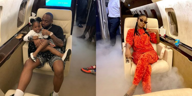 Davido flies his baby mama, Sophie Momodu to Ghana with her daughter, Imade (photos)