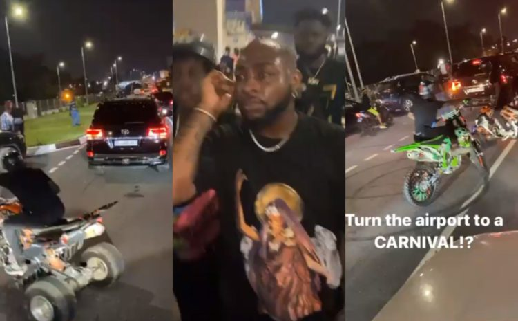 Ghanaians shutdown Accra Airport with Biker's carnival as they welcome Davido (Video)