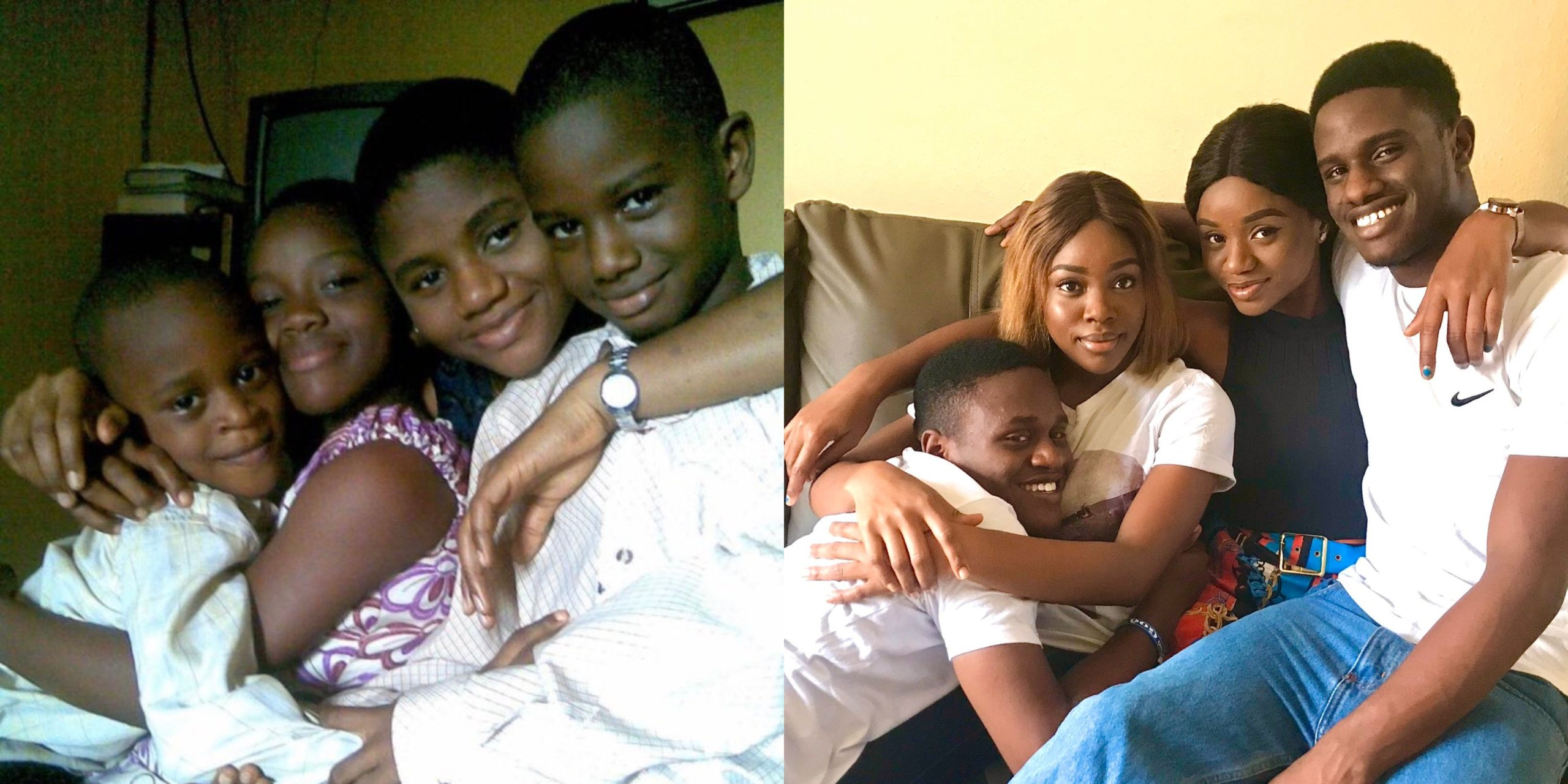 Nigerian lady and her siblings recreate a photo they took 12years ago