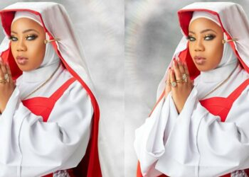 Toyin Lawani flaunts extra flesh in transparent lingerie (Photo)