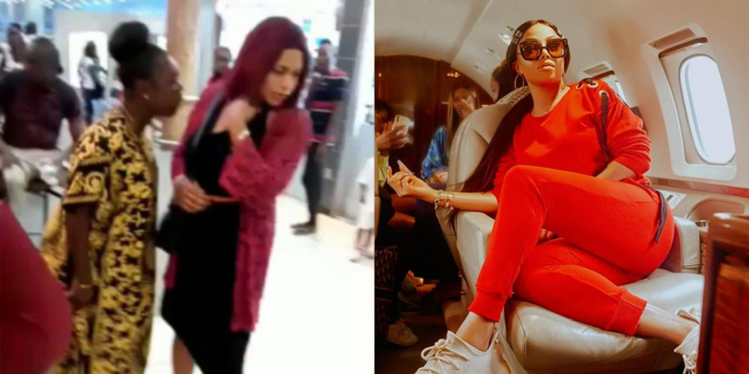 Toke Makinwa reacts to viral video of married woman assaulting her husband's mistress in Ikeja mall