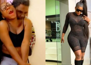 Nigerians react as Pete Edochie hugs Actress Destiny Etiko from behind (Video)
