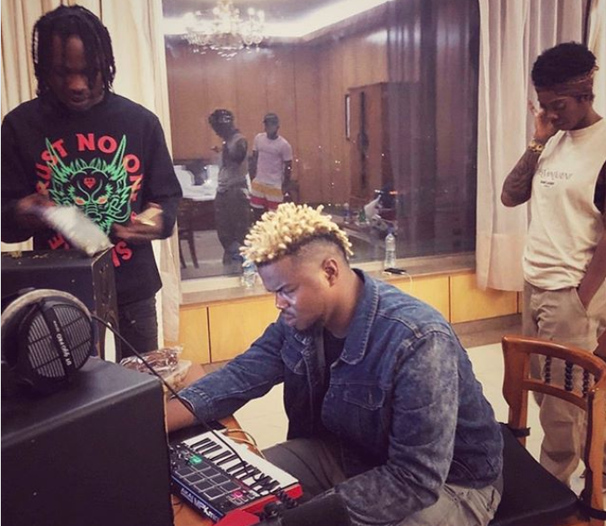 See what Naira Marley and Tiwa Savage were pictured doing during a recording session