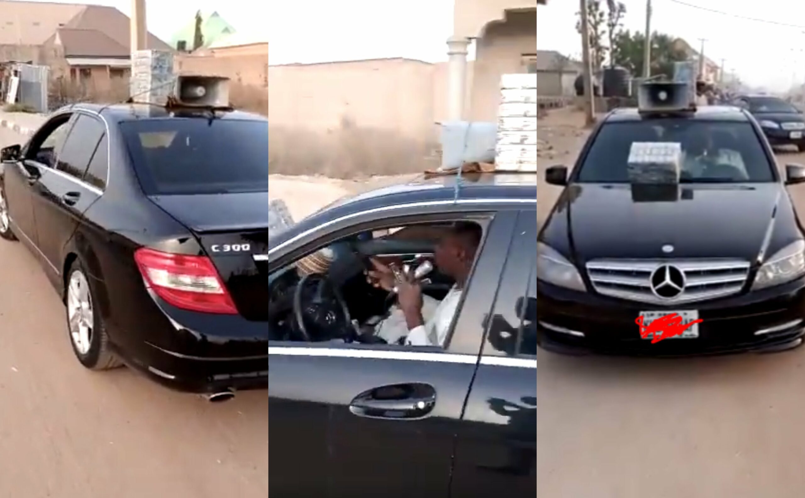 Viral video of a Nigerian man selling 'hausa' herbs by the roadside in Mercedes Benz C-class (Video)