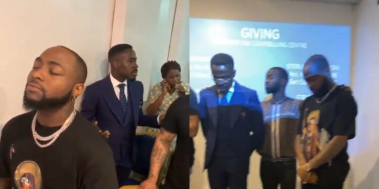 Davido's sister, Sharon drags him to church - Watch the moment pastor called him out for special prayers (Video)