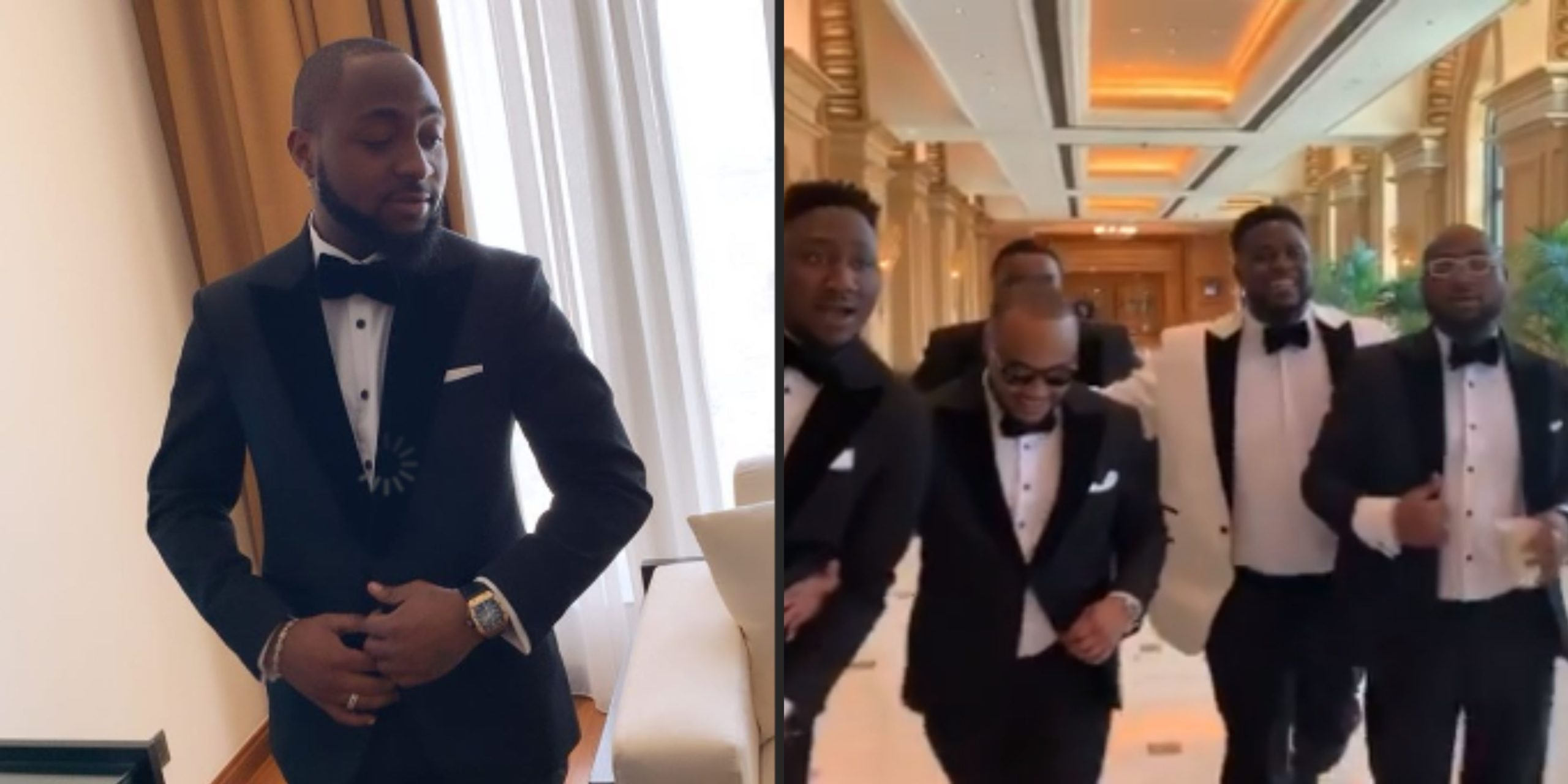 Davido looking spick and span for his brother's wedding in Dubai today
