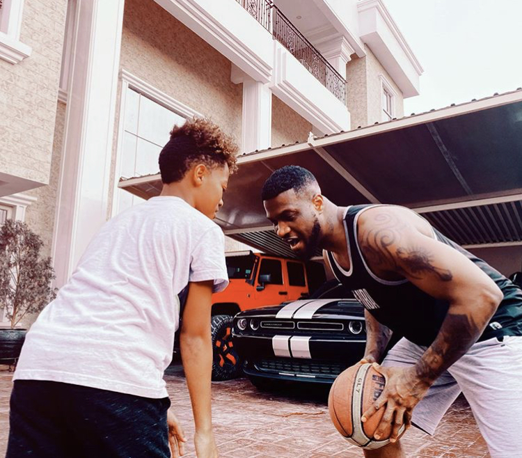 Mr P and his son Cameron play basketball in his beautiful mansion (Photos)