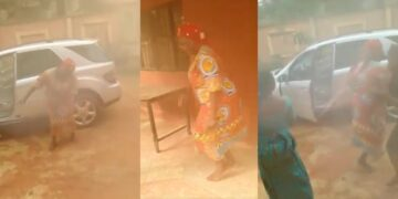 Nigerian mother dances for joy as her America-based daughter sends Benz SUV home (Video)