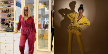 Mercy Eke stuns in red pyjamas at Diane's birthday party, - See the beautiful gift she got the celebrant (Video)