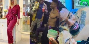 The moment Ike was dared to pull his shirt at Diane's party - See Mercy Eke's reactions, she surely misses him! (Video)