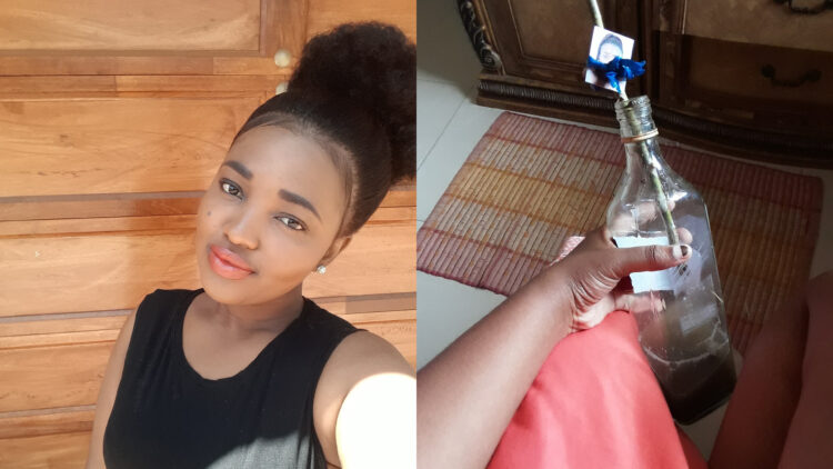 Lady discovers her photo tied to a fetish bottle that contains her missing earrings, in her bestie's wardrobe (Photos)