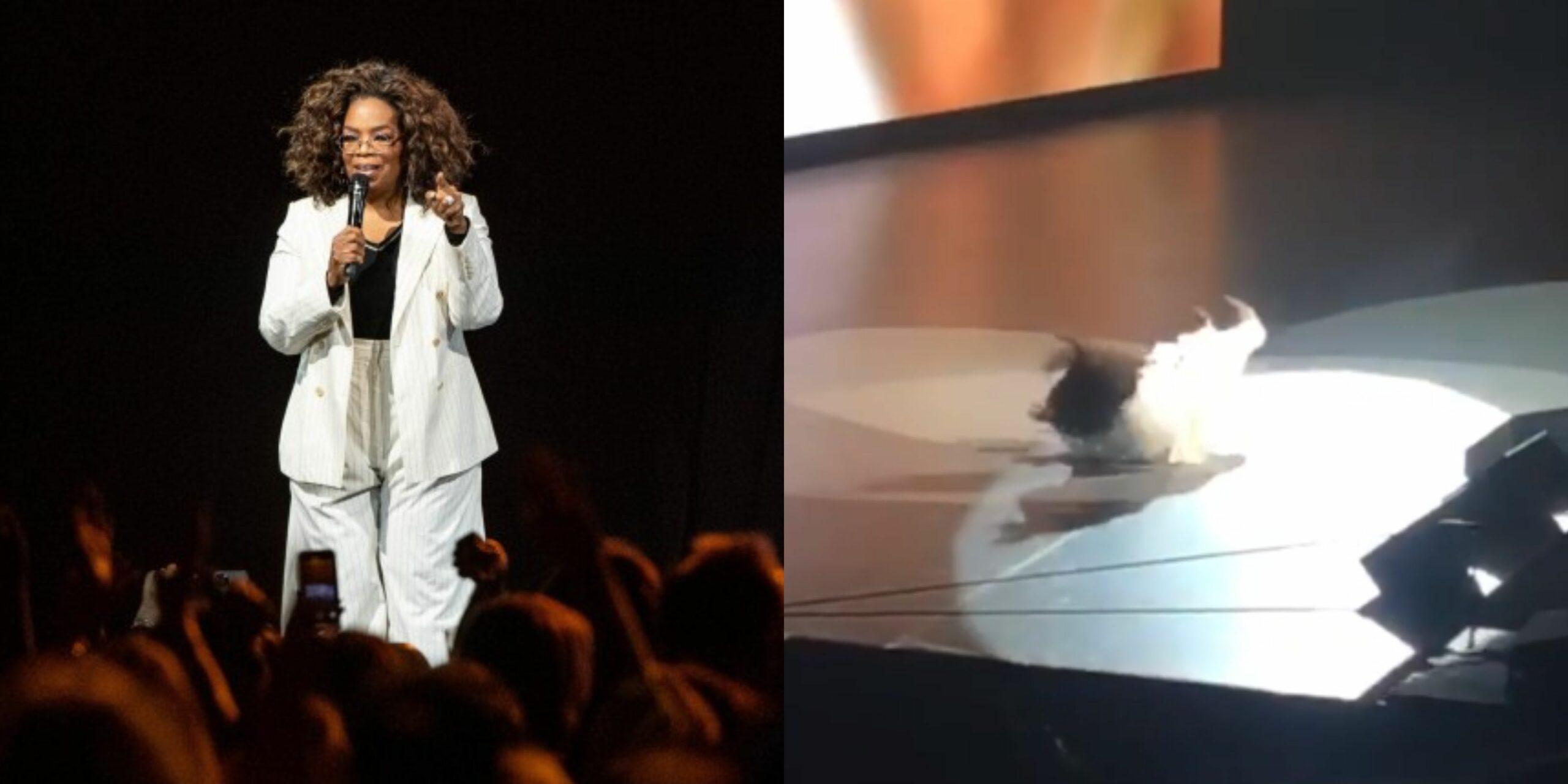 Ironic! Billionaire Oprah Winfrey stumbles and falls hard on stage while talking about balance