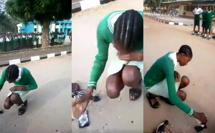 Federal Girls College Akure Student told to destroy her phone on the assembly ground (Video)