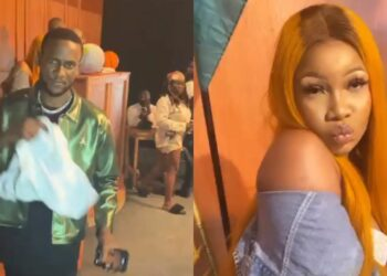 Tacha and Omashola spotted on set of the music video for 'Chiwawa' song (Video)