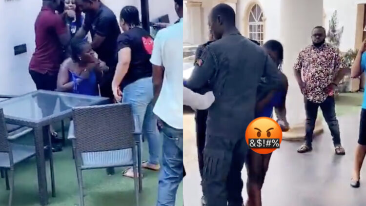 Wife catches her husband with his side chic at a hotel - Oboy See beating! (Video)