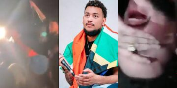 Hilarious moment South African Rapper AKA jumped into a crowd that refused to catch him (Video)