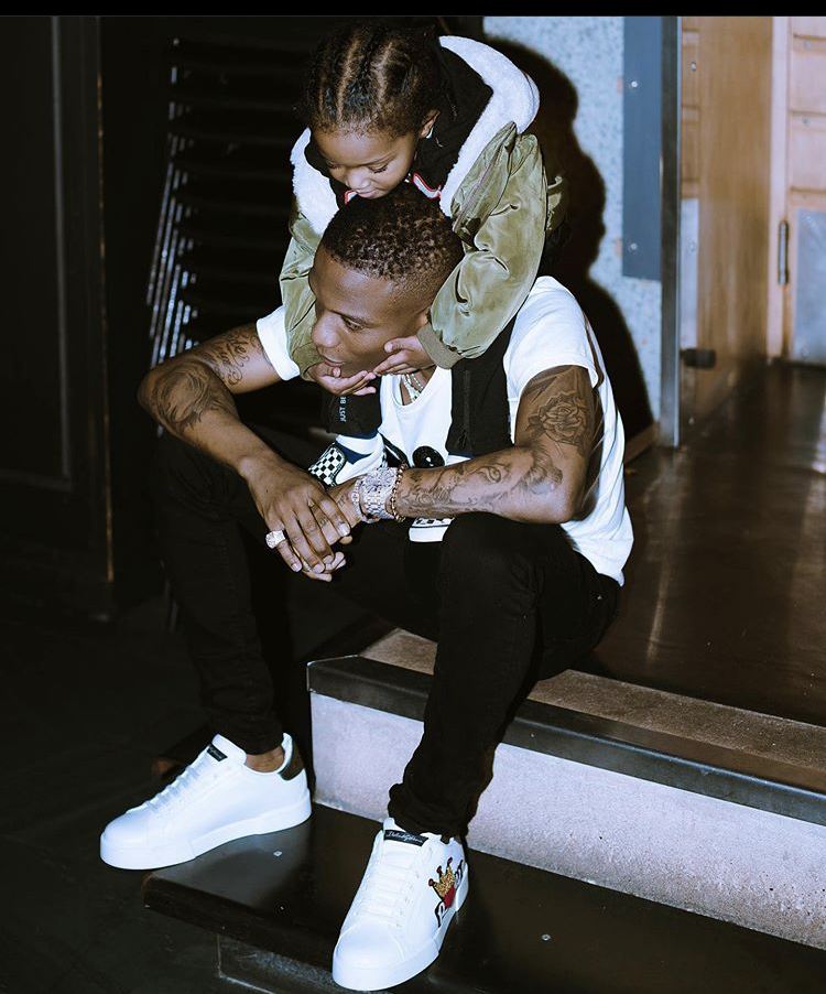 Lion and his cub - Wizkid shares new photos of his last son Zion
