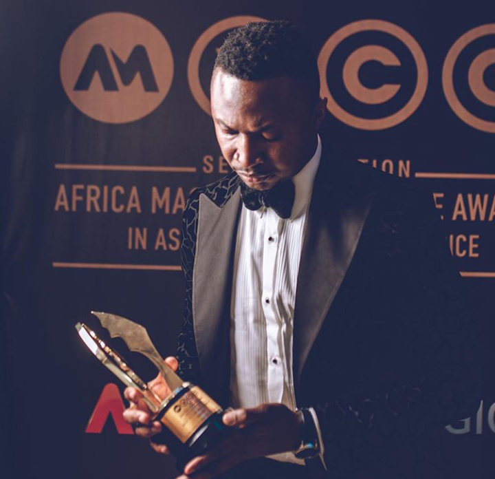Funnybone tattoos lover's name on his wrist, dedicates AMVCA to her (Photos)