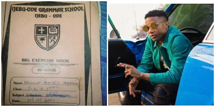 'Fine Handwriting' – Fans React To Wizkid's Note Book In JSS1 (Photo)