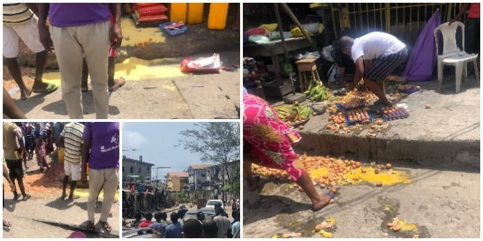 Police storm Obalende market, allegedly destroy food stuffs even after sellers of essential food commodities are exempted (PICS)
